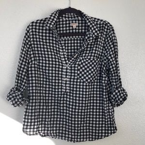Black and white gingham popover long sleeved top